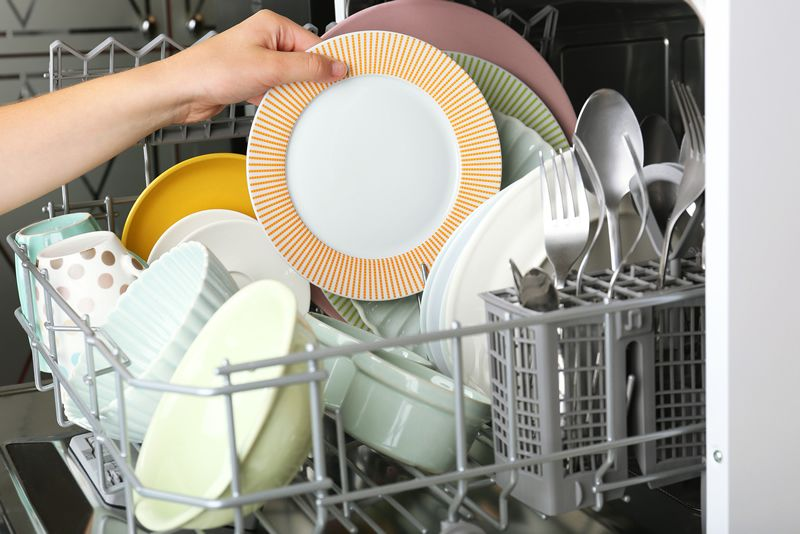 dishwasher with clean utensils